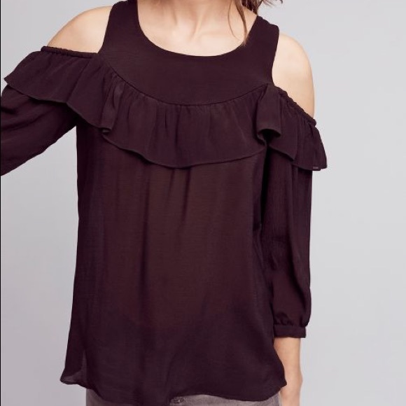 Anthropologie Tops - Anthropologie Maeve Black Cold Shoulder Ruffle Top